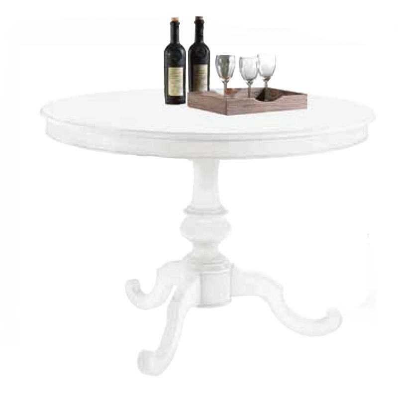 tavolo da pranzo shabby chic laccato bianco rotondo con allunga da 40 cm