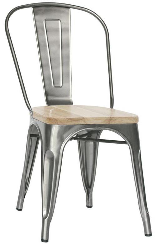 Sedia Struttura in metallo verniciato, seduta in legno
