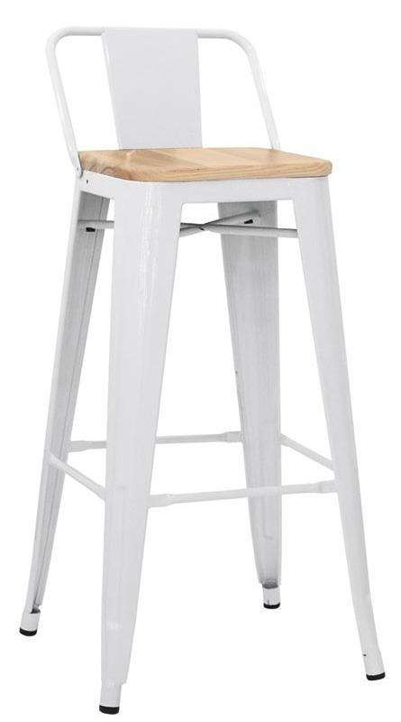 sgabello Struttura in metallo verniciato, seduta in legno