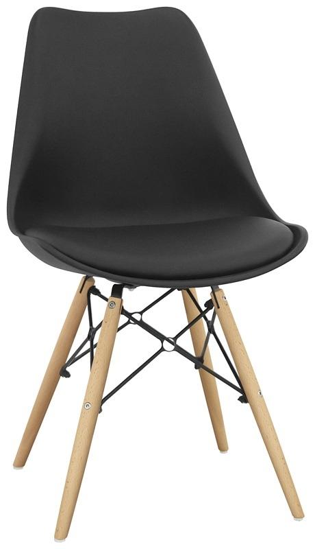 Sedia struttura in metallo e legno scocca in polipropilene cuscino in ecopelle