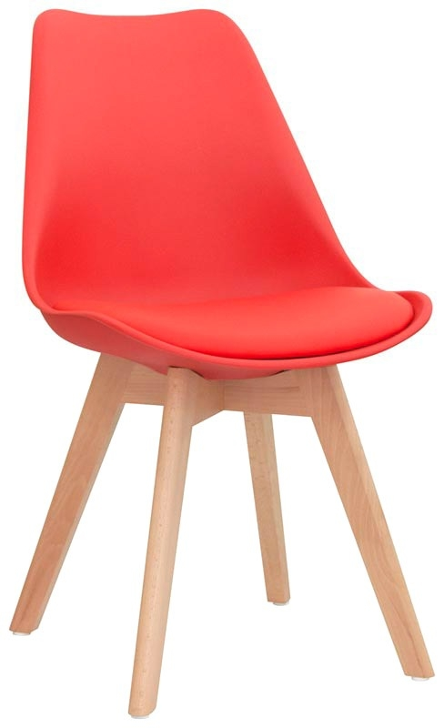 Sedia struttura in legno scocca in polypropilene seduta in ecopelle