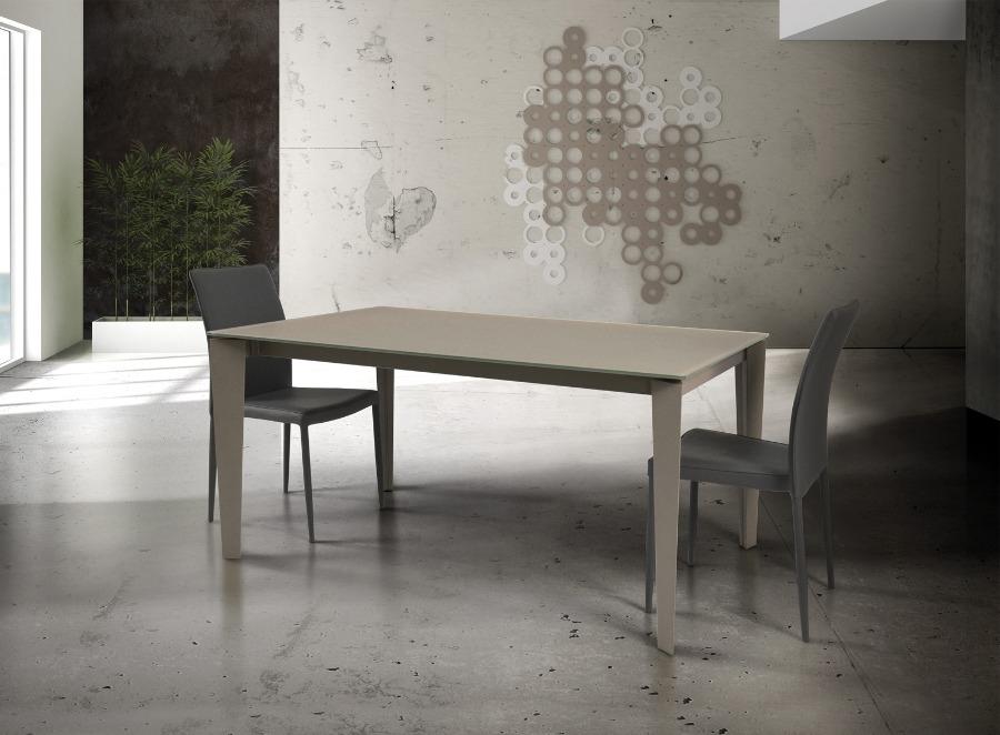 tavolo in vetro tortora allungabile con struttura in metallo art 827