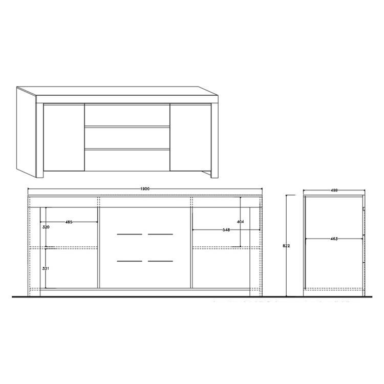 Credenza moderna Amalfi 2 ante 3 cassetti