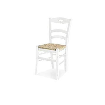 Sedia classica laccato bianco, fondo paglia, asola