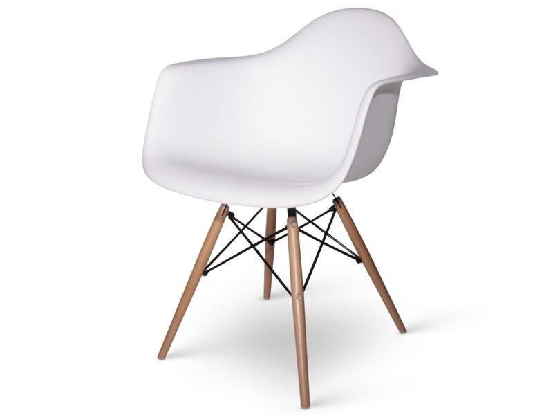 Sedia mod. Daw Eames bianca con gambe in legno di faggio