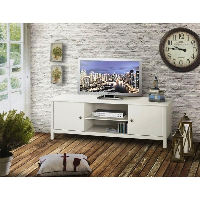Porta tv in legno laccato bianco opaco
