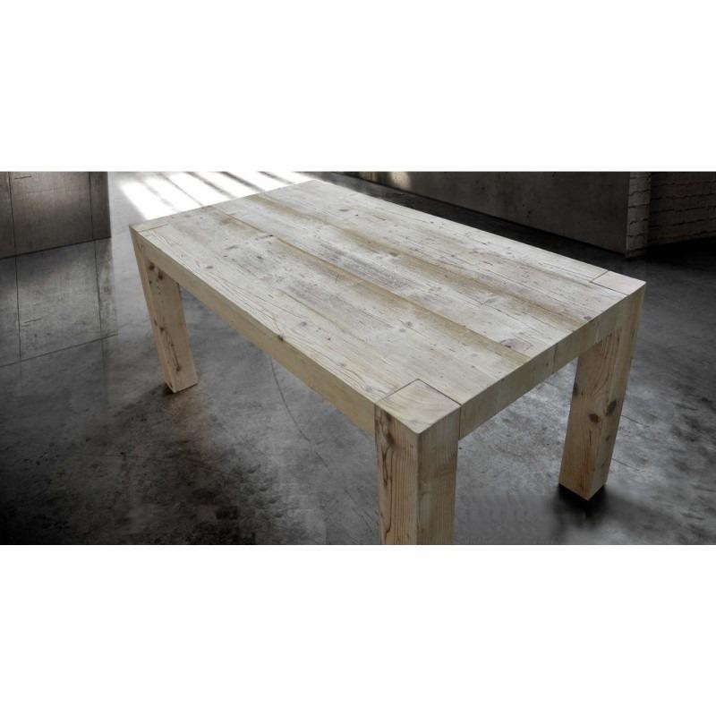 tavolo in legno invecchiato con 2 allunghe