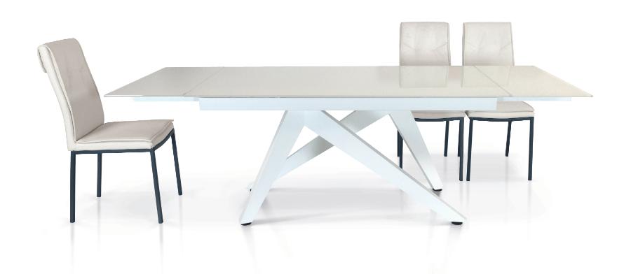 Tavolo vetro bianco allungabile