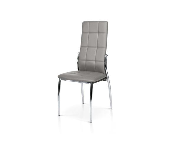 Sedia con struttura in metallo e sedile in ecopelle.