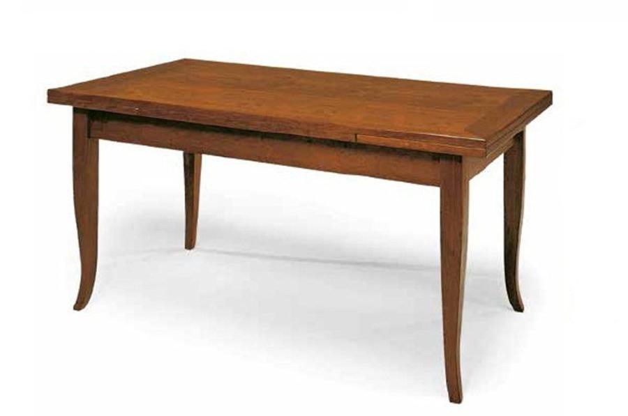Tavolo Classico con piano e struttura in legno, finitura noce arte povera, allungabile