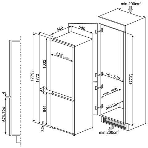 Frigorifero Combinato da Incasso C3170FP1 Ventilato Classe A+ Capacità Lorda / Netta 272/268 Litri