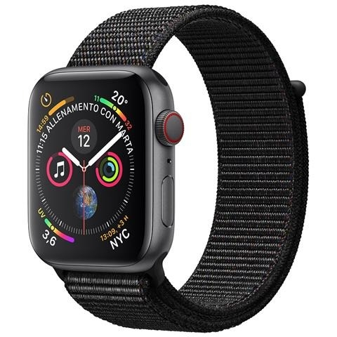 APPLE Watch Series 4 40mm GPS + Cellular in alluminio grigio siderale con Sport Loop nero