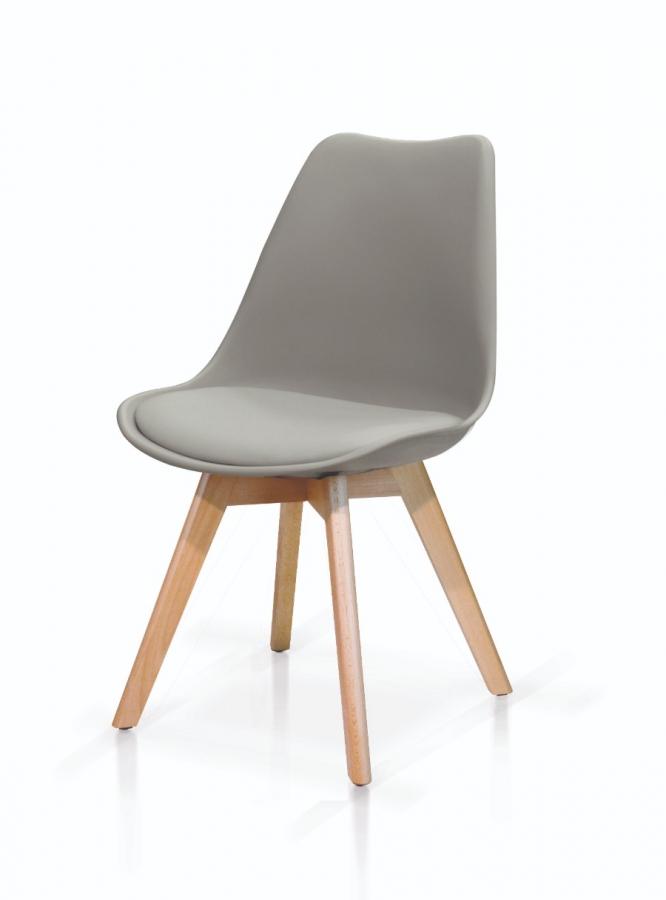 Set di sedie in polipropilene grigio con seduta imbottita e gambe in legno di faggio
