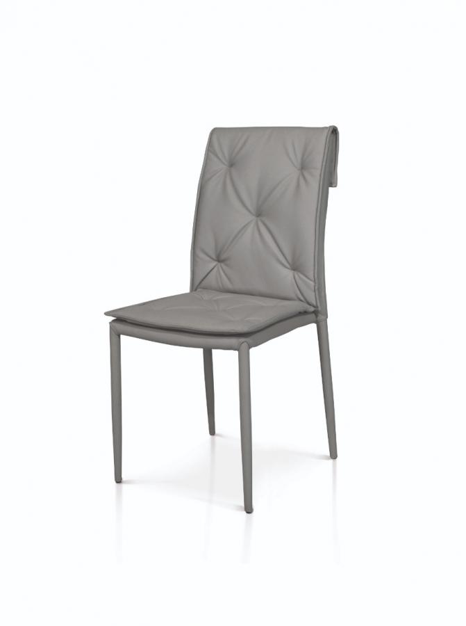 Set di sedie 2 sedie grigie in ecopelle con struttura in metallo rivestito