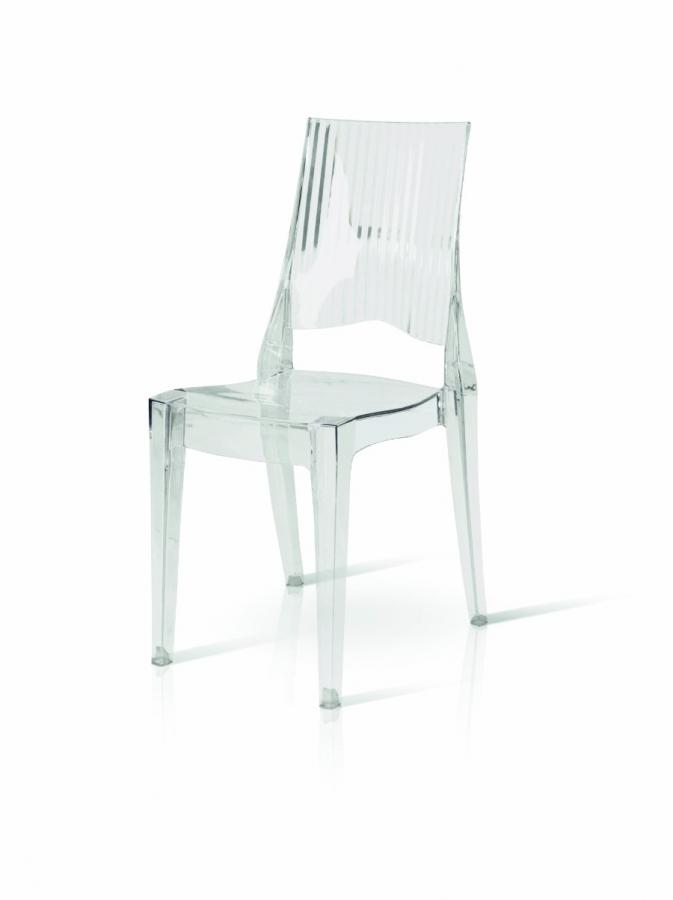 Sedia in policarbonato trasparente quadrata impilabile