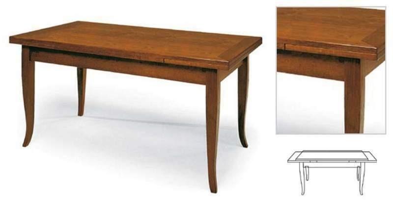 Tavolo Classico con piano e struttura in legno, finitura noce arte povera