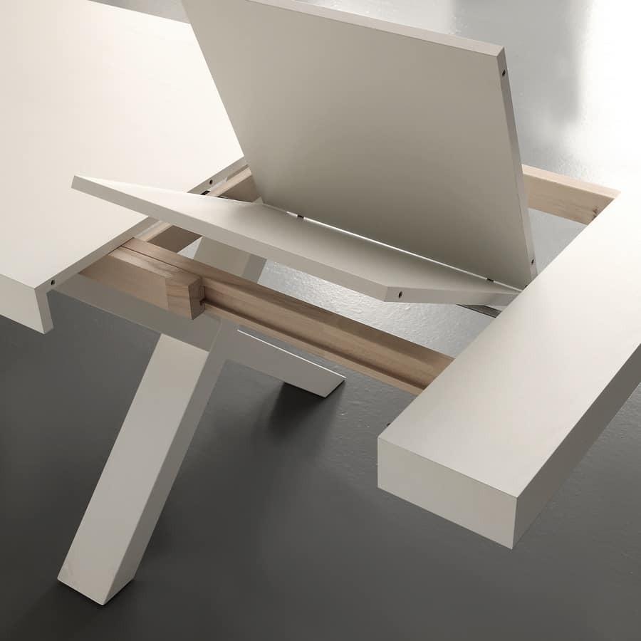 Tavolo rettangolare allungabile tinta bianco consumato naturale