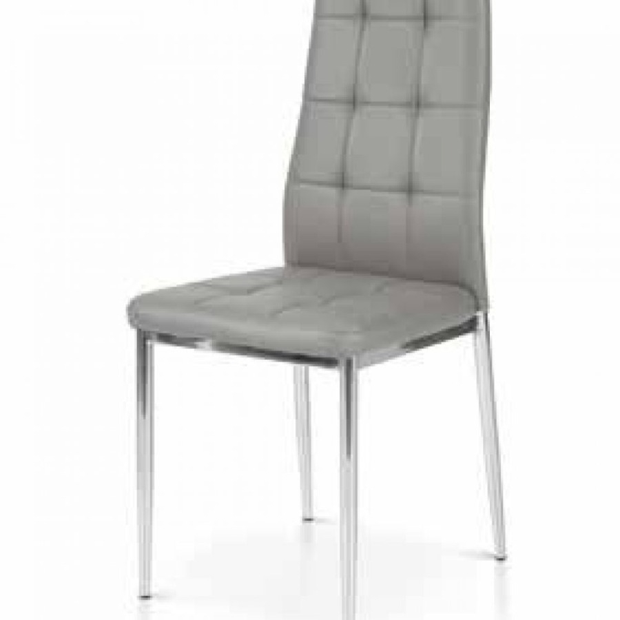 sedie grigie in ecopelle con struttura in metallo cromato
