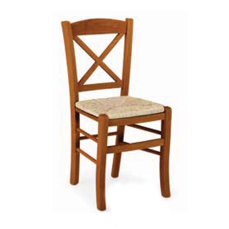 Sedia in legno massello seduta in paglia naturale