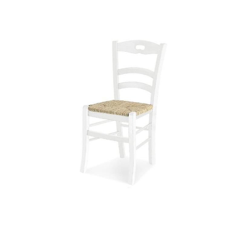 Sedia in arte povera modello Savoy con seduta in paglia vera