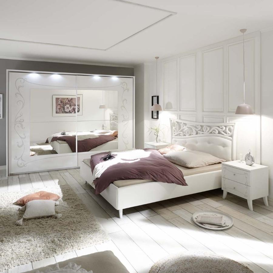 Camera completa Soler bianca con serigrafia floreale