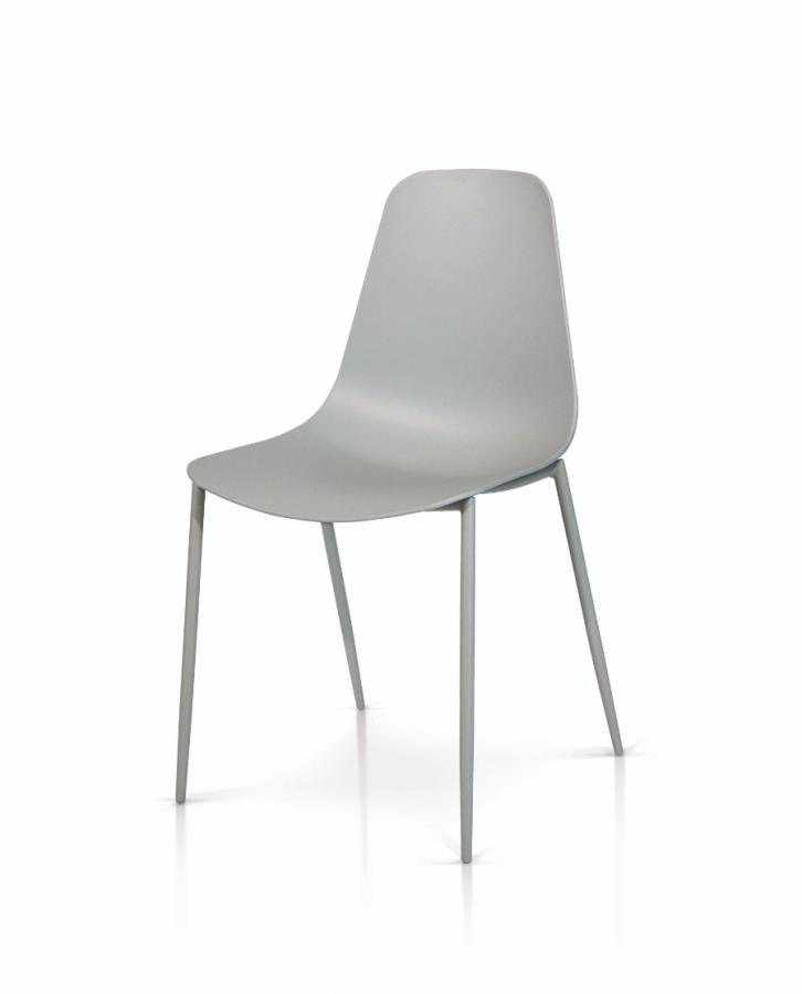 sedie grigie in polipropilene e gambe in metallo