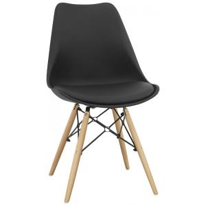Sedia struttura in metallo e legno scocca in polipropilene cuscino in ecopelle 1148-72K N