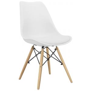 Sedia struttura in metallo e legno scocca in polipropilene cuscino in ecopelle 1148-72K W