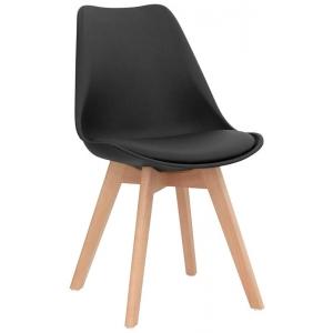 Sedia struttura in legno scocca in polypropilene seduta in ecopelle 1193-PW72 N