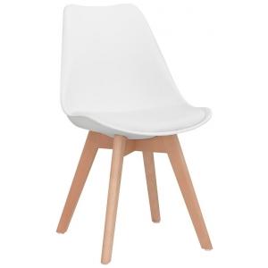 Sedia struttura in legno scocca in polypropilene seduta in ecopelle 1193-PW72 W