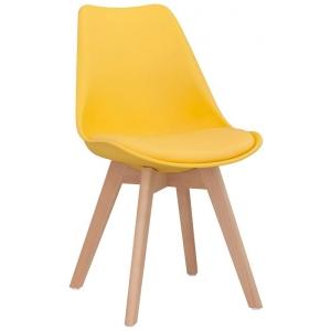 Sedia struttura in legno scocca in polypropilene seduta in ecopelle 1193-PW72 J