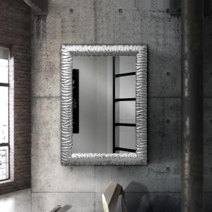 Specchiera rettangolare con cornice effetto intaglio argento T&C-CA-631