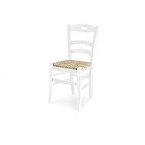 Sedia classica laccato bianco, fondo paglia, asola  1022