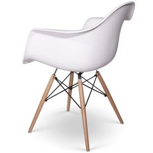Sedia mod. Daw Eames bianca con gambe in legno di faggio 703