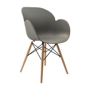 Sedia mod. Lotus Wood grigia con gambe in legno di faggio 708