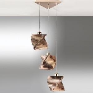 lampadario cartoccio rame 3 luci senza lampadine  4841/s3r