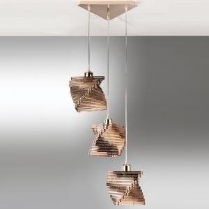 lampadario cartoccio rame 3 luci senza lampadine