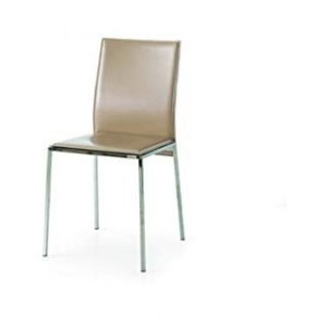 sedie tortora in ecopelle con struttura in metallo cromato 1681 T