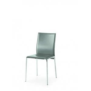 sedie grigie in ecopelle con struttura in metallo cromato 1680 G