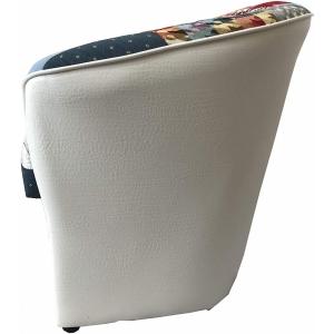 Poltrona a POZZETTO in Ecopelle Design (Patchwork Bianco) ubalda (Patchwork Bianco)