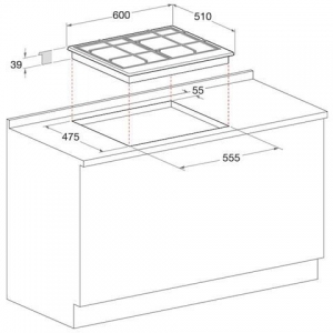 Piano Cottura a Gas 4 Fuochi Gas Colore Inox 641 T / IX / HAR