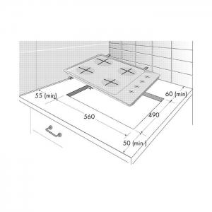 Piano Cottura a Gas 4 Fuochi Gas Colore Inox HIZG 641 C0 SX