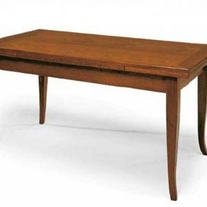 Tavolo Classico con piano e struttura in legno, finitura noce arte povera, allungabile 13 -160