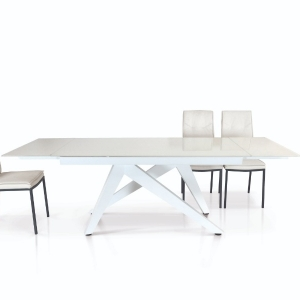 sedie bianche in ecopelle con struttura in metallo verniciato di colore nero 923 W