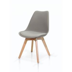 Set di sedie in polipropilene grigio con seduta imbottita e gambe in legno di faggio  vita 975