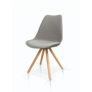 sedie in polipropilene grigio con seduta imbottita e gambe in legno di faggio 993