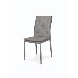 Set di sedie 2 sedie grigie in ecopelle con struttura in metallo rivestito 979