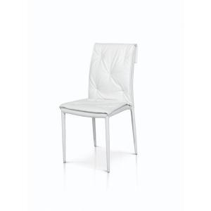 sedie bianche in ecopelle con struttura in metallo rivestito 977 w