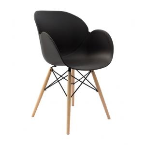 Sedia mod. Lotus Wood nera con gambe in legno di faggio 708