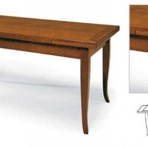 Tavolo Classico con piano e struttura in legno, finitura noce arte povera, allungabile 13 -120